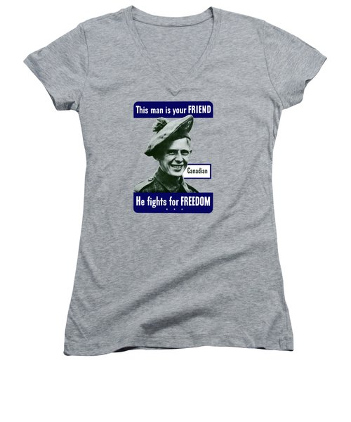 Canadian This Man Is Your Friend Women's V-Neck
