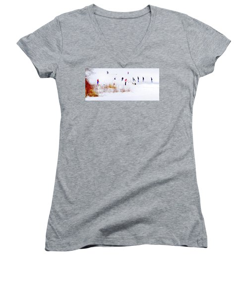 Women's V-Neck T-Shirt featuring the photograph Canadiana by John Poon