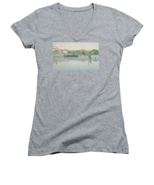 Women's V-Neck T-Shirt (Junior Cut) featuring the photograph Canal In Pastels by Everet Regal
