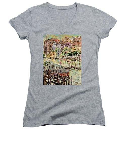 Canale Grande Women's V-Neck T-Shirt (Junior Cut) by Alfred Motzer