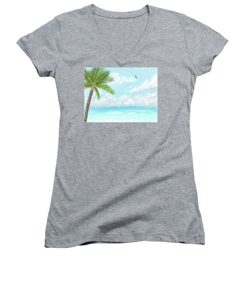 Women's V-Neck T-Shirt featuring the digital art Cancun At Christmas by Darren Cannell