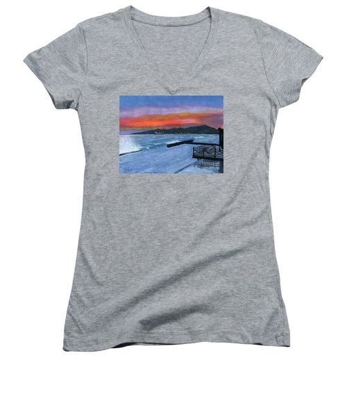 Women's V-Neck T-Shirt (Junior Cut) featuring the painting Candidasa Sunset Bali Indonesia by Melly Terpening