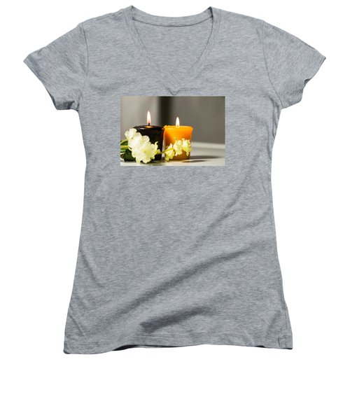Candle Women's V-Neck T-Shirt (Junior Cut) by Hyuntae Kim
