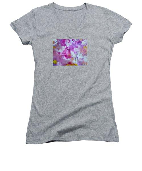 Candy Clouds Women's V-Neck T-Shirt (Junior Cut) by Tracy Bonin