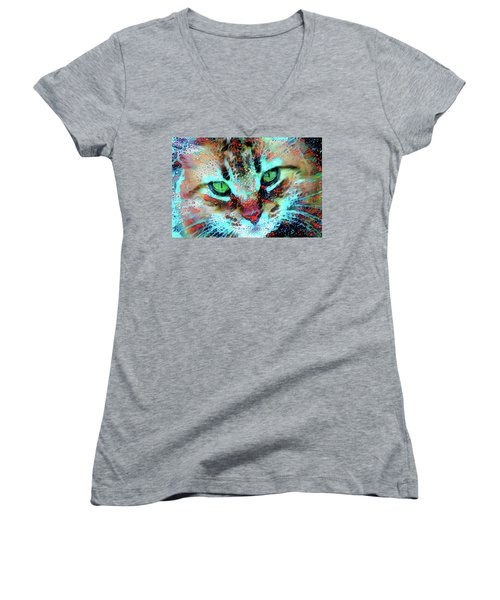 Candy The Colorful Green Eyed Cat Women's V-Neck