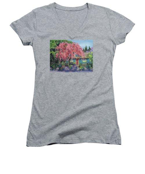 Candy Tree Women's V-Neck T-Shirt (Junior Cut) by Karen Ilari