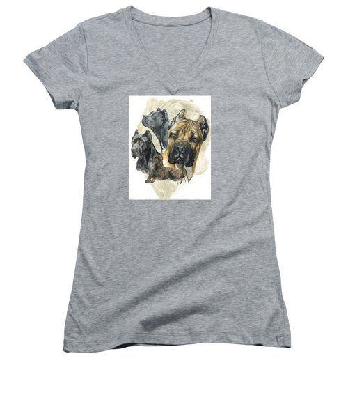Cane Corso W/ghost Women's V-Neck T-Shirt (Junior Cut) by Barbara Keith