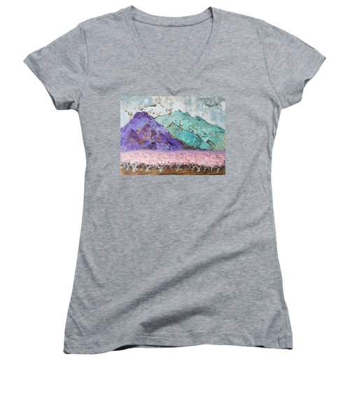 Canigou With Blooming Peach Trees Women's V-Neck