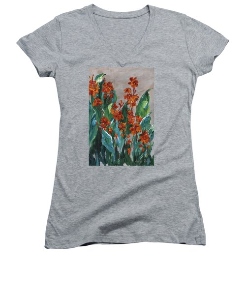 Women's V-Neck T-Shirt featuring the painting Cannas by Jamie Frier