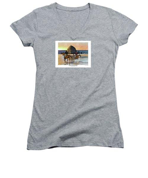 Women's V-Neck T-Shirt (Junior Cut) featuring the photograph Cannon Beach by Kenneth De Tore