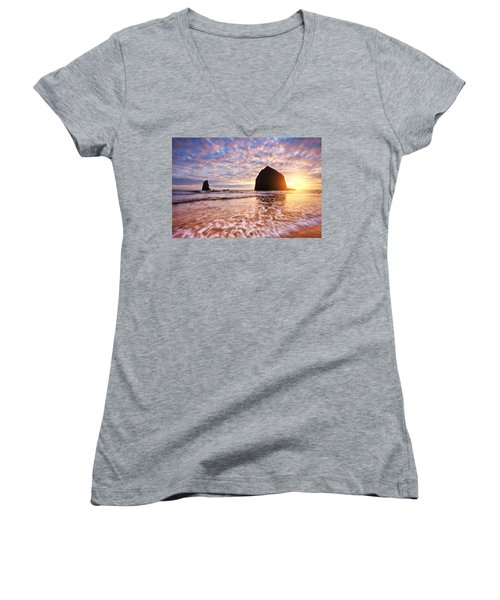 Cannon Beach Sunset Classic Women's V-Neck