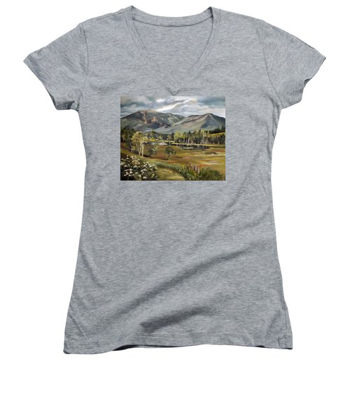 Cannon Mountain From Sugar Hill New Hampshire Women's V-Neck