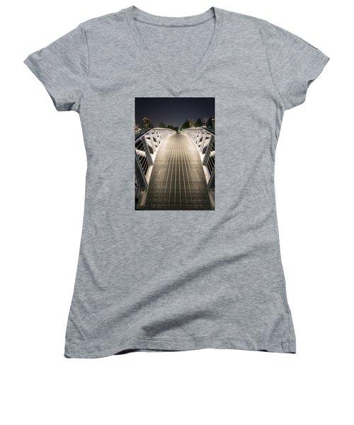 Canoe Bridge  Women's V-Neck T-Shirt (Junior Cut) by Sabine Edrissi