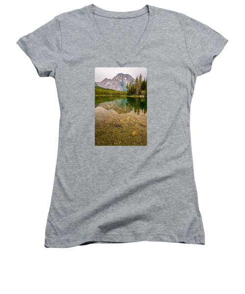 Canoe Camping In The Teton Range Women's V-Neck T-Shirt