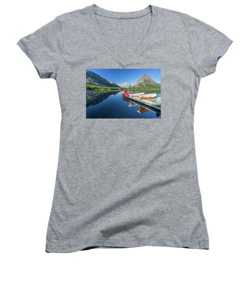 Canoe Reflections Women's V-Neck T-Shirt (Junior Cut) by Alpha Wanderlust