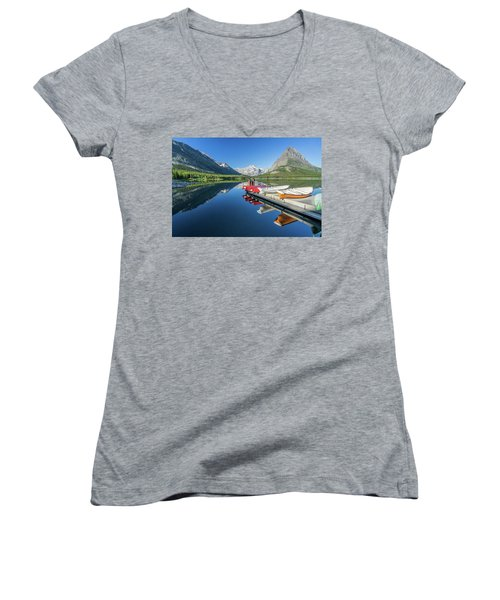 Canoe Reflections Women's V-Neck T-Shirt