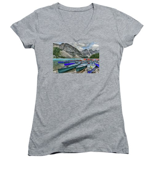 Canoes On Moraine Lake  Women's V-Neck