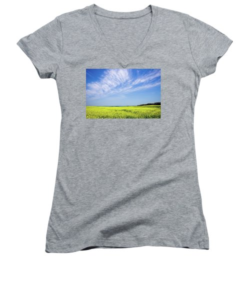 Women's V-Neck T-Shirt (Junior Cut) featuring the photograph Canola Blue by Keith Armstrong