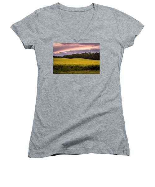 Women's V-Neck T-Shirt (Junior Cut) featuring the photograph Canola Crop Sunset by Darcy Michaelchuk