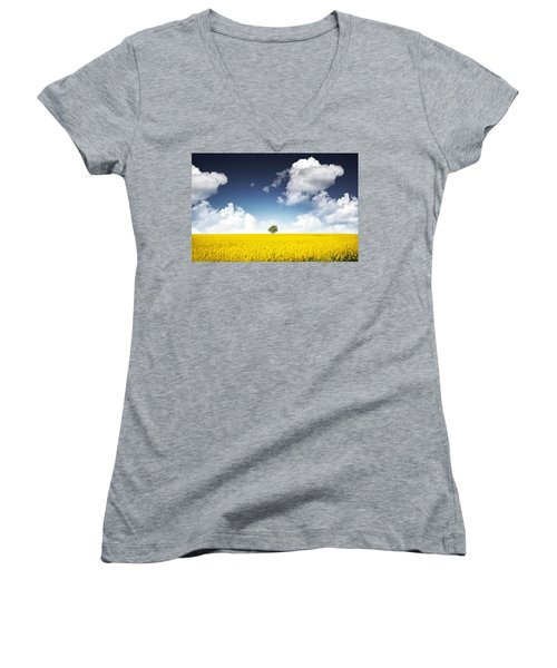 Canola Field Women's V-Neck T-Shirt (Junior Cut) by Bess Hamiti