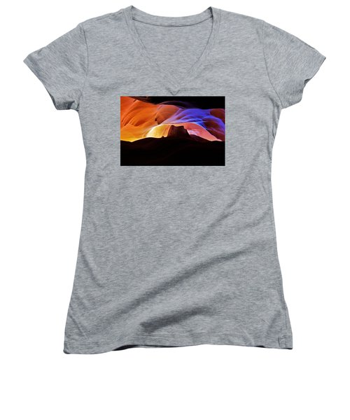 Women's V-Neck T-Shirt (Junior Cut) featuring the photograph Canyon Antelope by Evgeny Vasenev
