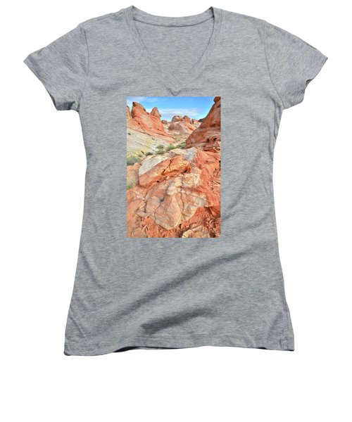 Canyon Color In Valley Of Fire Women's V-Neck T-Shirt (Junior Cut) by Ray Mathis