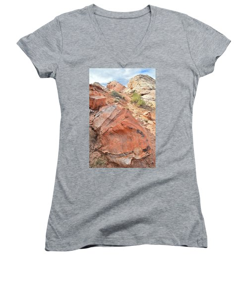 Canyon Of Color In Valley Of Fire Women's V-Neck T-Shirt (Junior Cut) by Ray Mathis