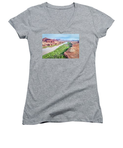Canyon Of Colorado River In Utah Aerial View Women's V-Neck T-Shirt