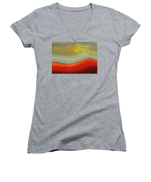 Canyon Outlandish Original Painting Women's V-Neck T-Shirt