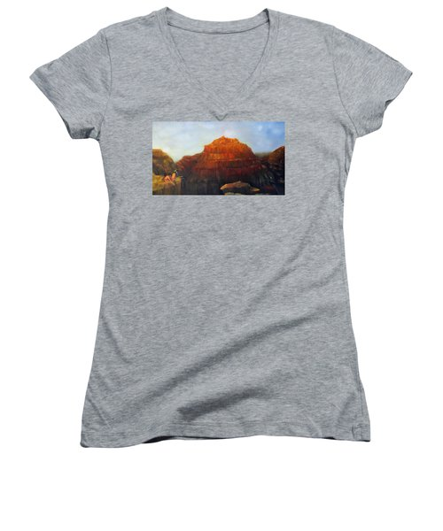 Canyon Overlook II Women's V-Neck T-Shirt (Junior Cut) by Loretta Luglio
