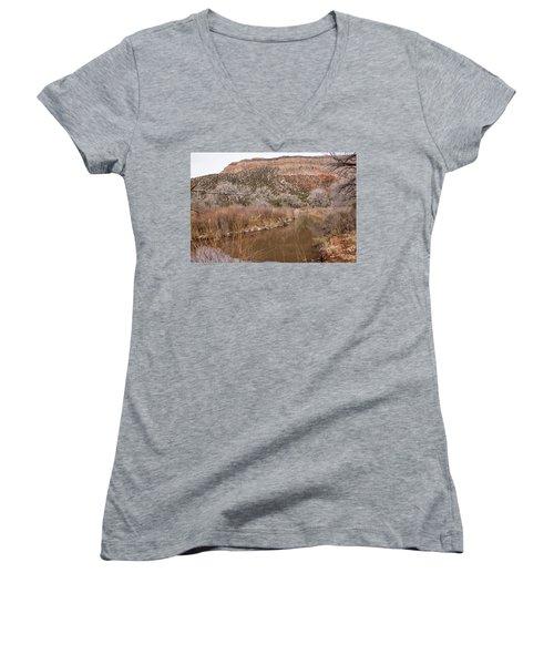 Canyon River Women's V-Neck T-Shirt (Junior Cut) by Ricky Dean