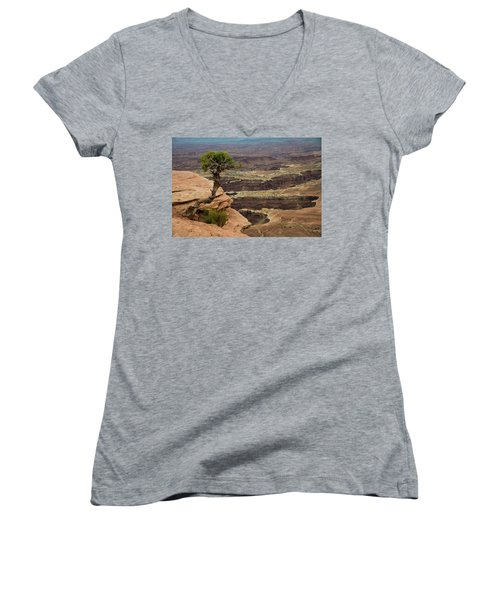 Women's V-Neck T-Shirt featuring the photograph Canyonlands by Gary Lengyel
