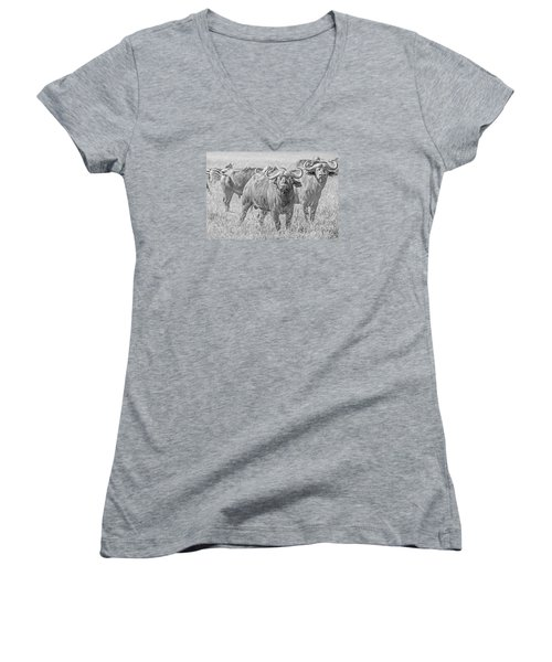 Women's V-Neck T-Shirt (Junior Cut) featuring the photograph Cape Buffalos In Serengeti by Pravine Chester