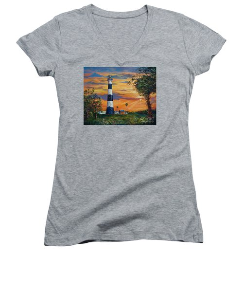 Cape Canaveral Light Women's V-Neck T-Shirt (Junior Cut) by AnnaJo Vahle