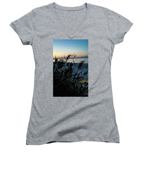 Women's V-Neck T-Shirt (Junior Cut) featuring the photograph Cape Cod Bay by Bruce Carpenter