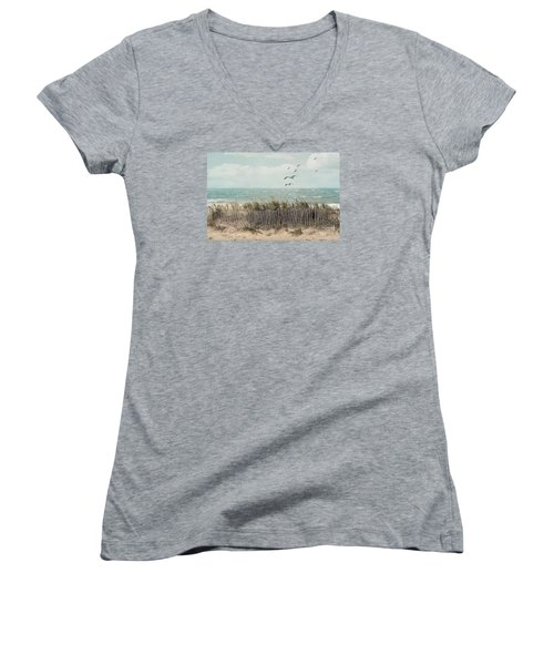 Cape Cod Beach Scene Women's V-Neck T-Shirt