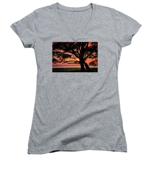 Women's V-Neck T-Shirt (Junior Cut) featuring the photograph Cape Fear Sunset Overlook by Phil Mancuso