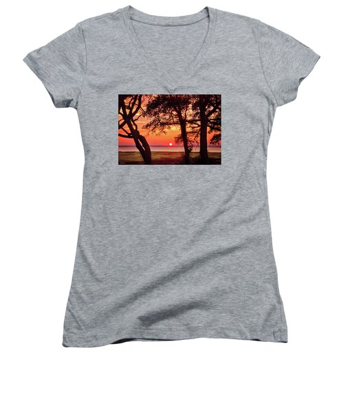 Women's V-Neck T-Shirt (Junior Cut) featuring the photograph Cape Fear Tranquility by Phil Mancuso