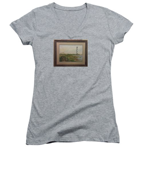 Women's V-Neck T-Shirt (Junior Cut) featuring the painting Cape Hatteras Light House by Richard Benson