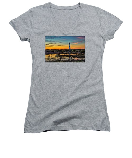 Cape Hatteras Lighthouse Women's V-Neck T-Shirt (Junior Cut)