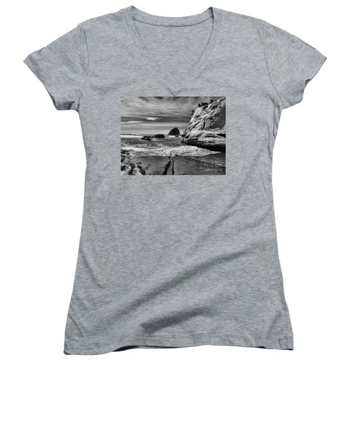 Cape Kiwanda Seascape Women's V-Neck T-Shirt (Junior Cut) by Scott Cameron