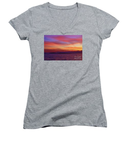 Cape Lookout Lighthouse At Sunrise Women's V-Neck (Athletic Fit)