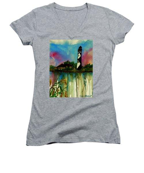 Cape Lookout Women's V-Neck T-Shirt (Junior Cut) by Lil Taylor