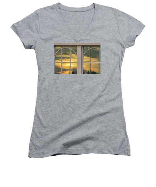 Cape May Abstract Sunset Reflection Women's V-Neck T-Shirt