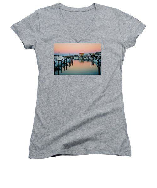 Women's V-Neck T-Shirt (Junior Cut) featuring the photograph Cape May After Glow by Steve Karol