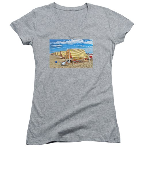 Cape May Cabanas 2 Women's V-Neck (Athletic Fit)