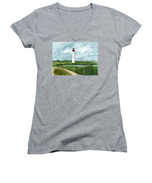 Cape May Lighthouse Women's V-Neck (Athletic Fit)