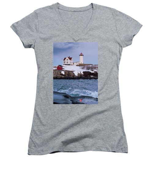 Cape Neddick Light At Dusk, York, Maine 21073 Women's V-Neck