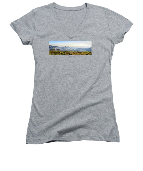 Women's V-Neck T-Shirt (Junior Cut) featuring the photograph Cape Town by Alexey Stiop