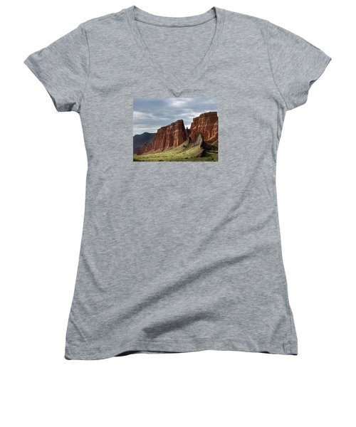 Capital Reef-cathedral Valley 9 Women's V-Neck T-Shirt (Junior Cut) by Jeff Brunton